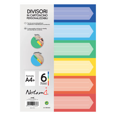 INTERCALARE NOTAMI A4 CARTONC. COLOR 6T