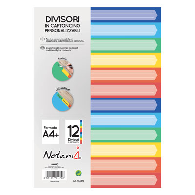 INTERCALARE NOTAMI A4 CARTONC. COLOR 12T