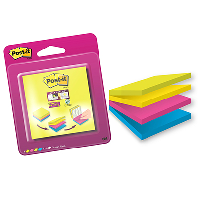 POST-IT 76X76 SUPER STICKY COLORI ASSORTITI CUBO DA 300 FOGLIETTI