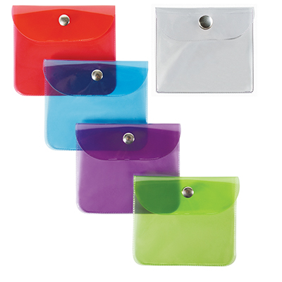 BUSTA CON BOTTONE PVC PORTA MONETE 3 TASCHE ASSORTITA