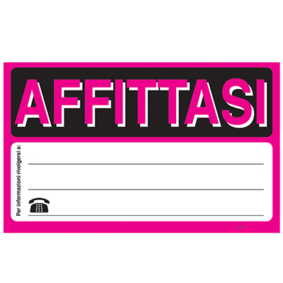 CARTELLO AFFITTASI FLUORESCENTE 23X32