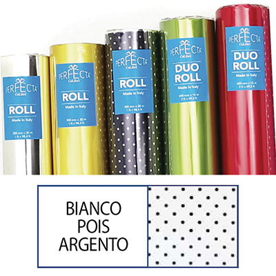 ROTOLO ROLL MM.300X30 MT BIANCO POIS ARGENTO