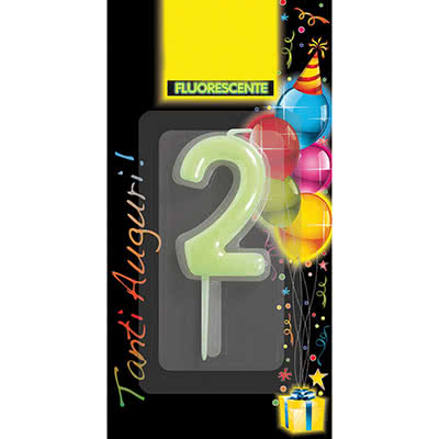 CANDELA COMPLEANNO NUMER0 2 FLUO