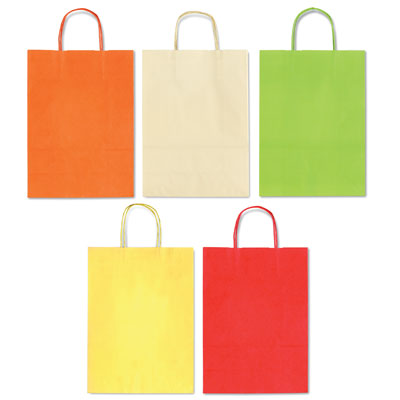 SHOPPER TINTA UNITA SU KRAFT BIANCA CM.26X12X36 ASS. COLORI CHIARI
