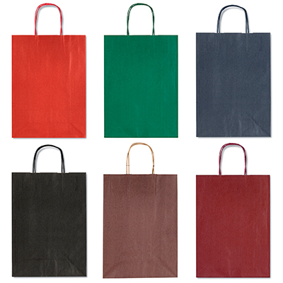 SHOPPER TINTA UNITA SU KRAFT AVANA CM.16X8X21 ASS. COLORI SCURI