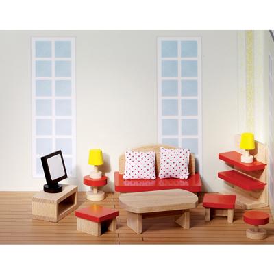 Mobili in legno per casa delle bambole soggiorno for Accessori soggiorno