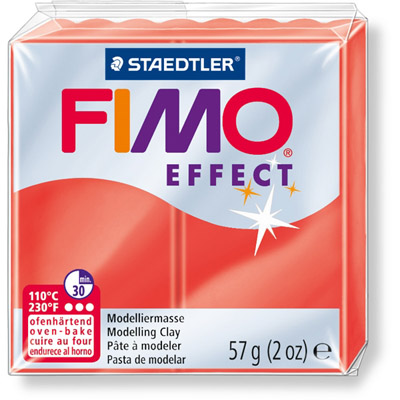 PANETTO FIMO EFFECT GR.57 ROSSO TRASLUCIDO 204